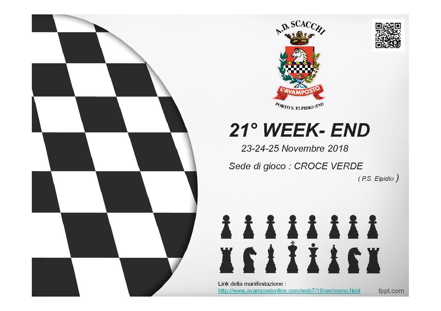 TORNEO DI SCACCHI-21° WEEK-END